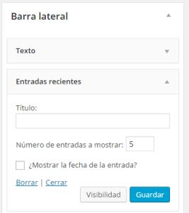 Configuración de Widgets en WordPress